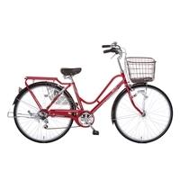 【自転車】【全国配送】KiLaLi パンクしにくいカジュアル軽快車 外装6段 26インチ レッド【別送品】