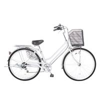 【自転車】【全国配送】KiLaLi パンクしない軽快車 外装6段 26インチ シルバー【別送品】