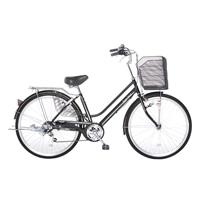 【自転車】【全国配送】KiLaLi パンクしない軽快車 外装6段 26インチ ブラック【別送品】
