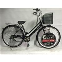 【自転車】【全国配送】KiLaLi パンクしない軽快車 外装6段 27インチ ブラック【別送品】