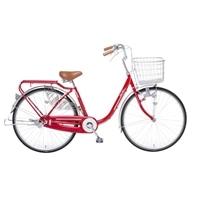 【自転車】【全国配送】KiLaLi パンクしにくい乗り易い軽快車 26インチ レッド【別送品】