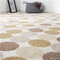 デザイン平織りカーペット サークル 4.5畳 アイボリー