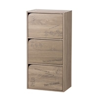 【数量限定】カラーボックス WB ドア付3段収納ボックス ナチュラルエルム