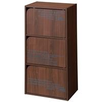 カラーボックス ドア付3段収納ボックス ブラウン