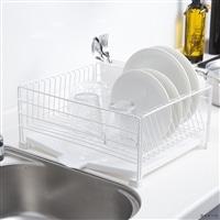 お手入れ簡単で水も流れる水切りカゴ(トレイ付き) WH