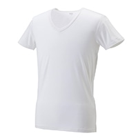 【数量限定】VL 吸湿発熱インナーシャツV首 半袖 ナチュラルホワイト M