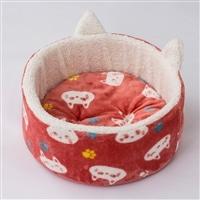猫型ベッド 猫柄 ピンク