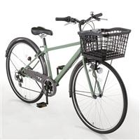 【自転車】【全国配送】バスケットが広がるクロスバイク SWIDE(スワイド) 外装6段 27インチ カーキ【別送品】