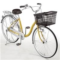 【自転車】【全国配送】バスケットが広がる軽快車 SWIDE(スワイド) LEDオートライト 26インチ マスタード【別送品】