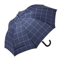 【数量限定】風に強いジャンプ傘 65cm チェック ネイビー