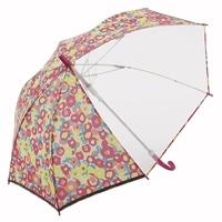 【数量限定】風に強い視界安全学童傘 55cm フラワー ピンク