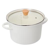 【数量限定】ふきこぼれにくいホーロー両手鍋 22cm ホワイト