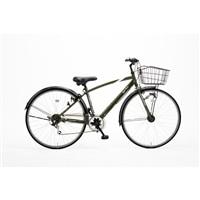 【自転車】【全国配送】KiLaLi パンクしにくいクロスバイク 外装6段 27インチ カーキ【別送品】