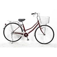【自転車】軽快車 26型 ST3 LEDオートライト レッド