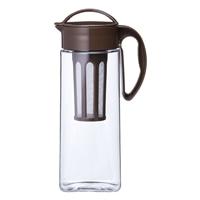 茶こし付き 縦にも横にも置ける 冷水筒 2.1L ブラウン