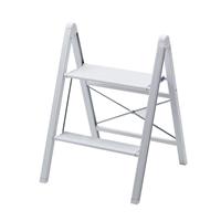 座れるスリムアルミ踏み台 2段 ホワイト