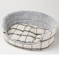 丸型ベッド チェックホワイト L