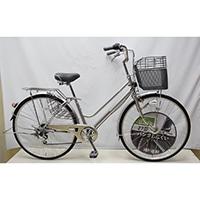 【自転車】KiLaCle パンクしにくい軽快車 外装6段 LEDオートライト 27インチ シルバー【別送品】