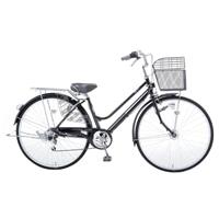 【自転車】KiLaCle パンクしにくい軽快車 外装6段 LEDオートライト 27インチ ブラック【別送品】