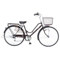 【自転車】【全国配送】KiLaLi パンクしにくいカジュアル軽快車 外装6段 26インチ ダークブラウン【別送品】