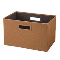 持ち運びしやすい折りたたみ収納ボックス レザー調ブラウン