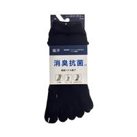 消臭抗菌 綿底靴下 ショート 5本指 黒 3足組
