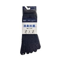 消臭抗菌 綿底靴下 ショート 5本指 杢 3足組