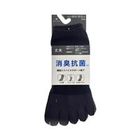 消臭抗菌 補強入靴下 ショート 5本指 黒 3足組