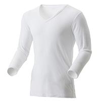 【2019秋冬】薄手 吸湿発熱保温Tシャツ 9分袖 V首 ホワイト LL