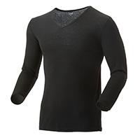 【2019秋冬】薄手 吸湿発熱保温Tシャツ 9分袖 V首 ブラック L