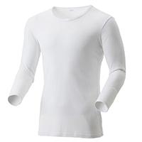 【数量限定・2019秋冬】薄手 吸湿発熱保温Tシャツ 9分袖 丸首 ホワイト LL