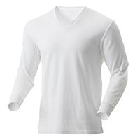 【2019秋冬】KUROCKER'S 中厚手 吸湿発熱保温Tシャツ 長袖 V首 ホワイト LL