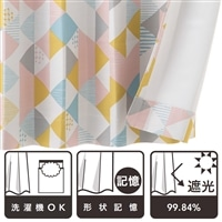 遮光カーテン ジオ ピンク 100×178 2枚組