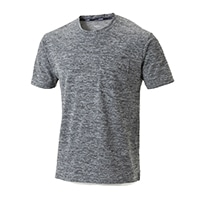 【2020春夏】スピードドライ ポケット付き鹿の子ワークTシャツ 半袖杢  ライトグレー M