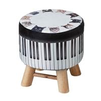 木脚スツール専用カバー 猫ピアノ
