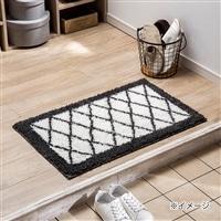 洗える玄関マット クロス 50×80 ホワイト/ブラック