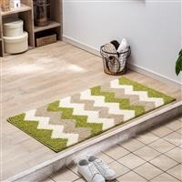 洗える玄関マット ウェブ 60×120 グリーン/ホワイト