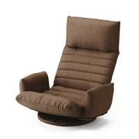 肘が掛けられる向き変え楽々回転座椅子 ブラウン