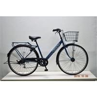【自転車】シティ車 クレモナ 外装6段 オートライト 27インチ ネイビー
