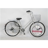 【自転車】26インチパンクしない軽快車 外装6段 オートライト シルバー