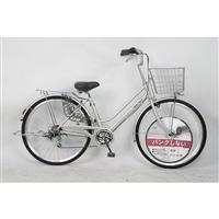 【自転車】パンクしない軽快車 27インチ 外装6段 シルバー