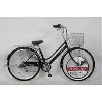 【自転車】27インチパンクしない軽快車 外装6段 オートライト ブラック