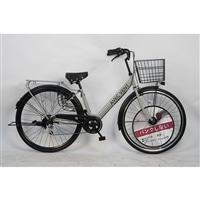 【自転車】パンクしないV型軽快車 27インチ 外装6段 グレー