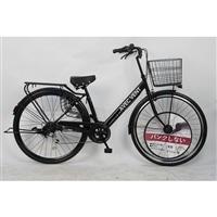 【自転車】パンクしないV型軽快車 27インチ 外装6段 ブラック