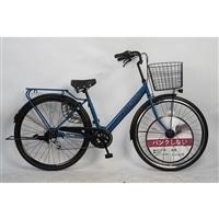 【自転車】パンクしないV型軽快車 27インチ 外装6段 ネイビー
