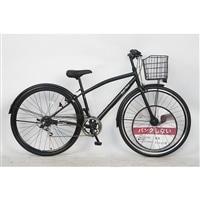 【自転車】パンクしないクロスバイク 27インチ 外装6段 ブラック