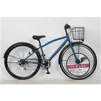 【自転車】パンクしないクロスバイク 27インチ 外装6段 ネイビー