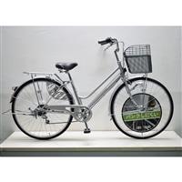 【自転車】キラクル KiLaCle パンクしにくい軽快車 27インチ 外装6段 LEDオートライト シルバー