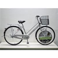 【自転車】キラクル KiLaCle パンクしにくい通学シティ車 26インチ 内装3段 LEDオートライト シルバー