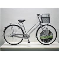 【自転車】キラクル KiLaCle パンクしにくい通学シティ車 27インチ 内装3段 LEDオートライト シルバー